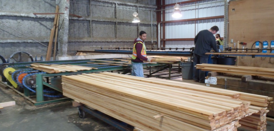 Personnel checking Custom Cedar lumber 1