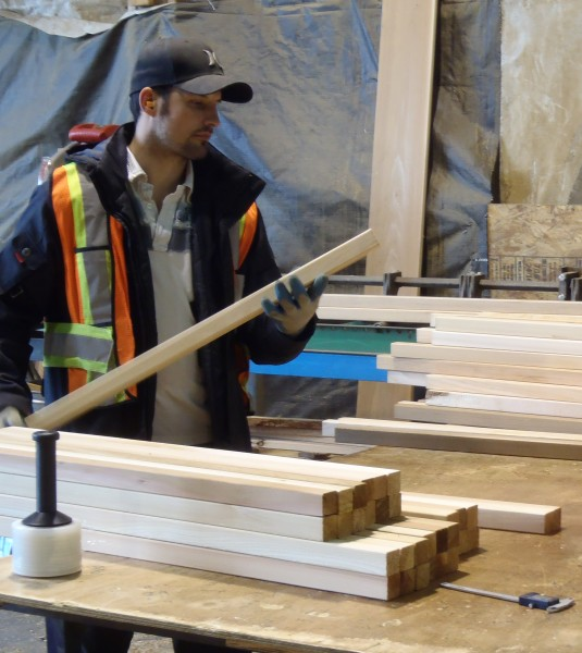 Personnel checking Custom Cedar lumber 2