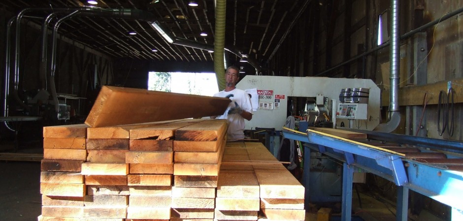 Personnel checking Custom Cedar lumber 4
