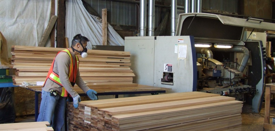 Personnel checking Custom Cedar lumber 5