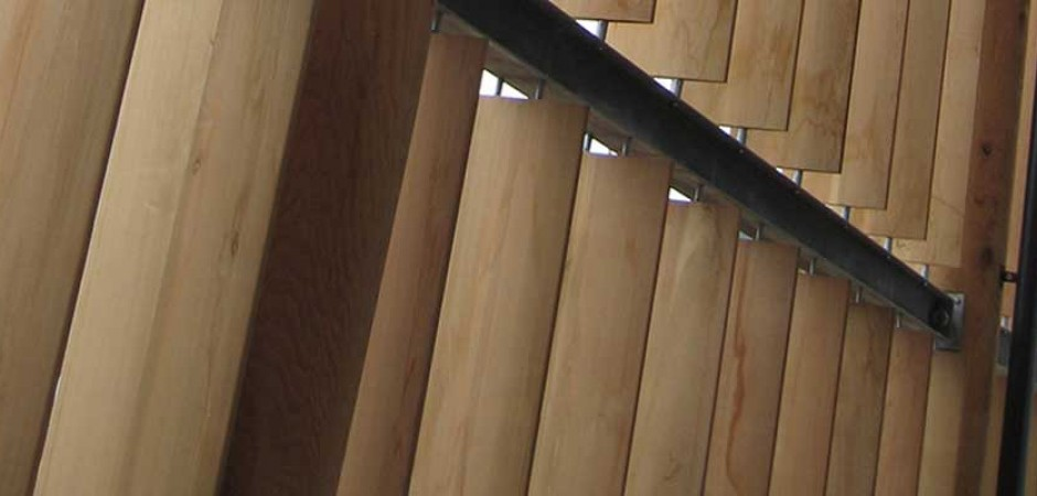 Clear - custom order - 2012 Olympic Velodrome's western red cedar elliptical louvers low angle - page photo