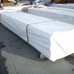Turned poles - prepared in shrink wrap